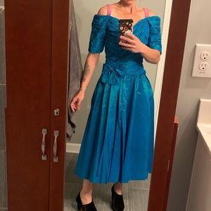 Vintage 80's prom ball taffeta gown dress